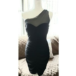 *** Mesh one shoulder Black Dress